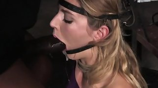 Head bondage submissive gets throat fucked
