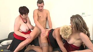 3 Mature moms sharing lucky young son