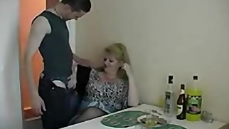 Drunk mom fucks her step-son