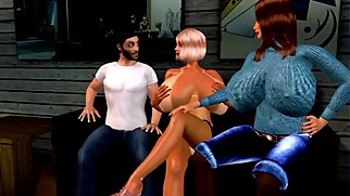 Part !: Virtual 3D Marti Seduces Her Son With Help From Her Daughter