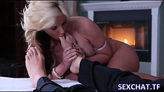 Big Boobs blonde stepmom is really into foot fetish with Son