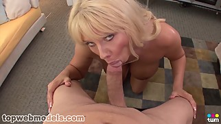 Cougar sucks huge cock