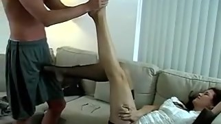 Son massage mom feet & gets a footjob in return